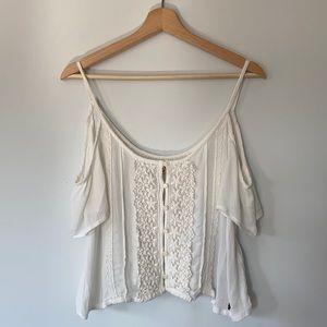 NWOT Hollister White Cold Shoulder Top w/ Crochet